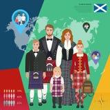 Scottish family in national dress, vector illustration Stock Photo
