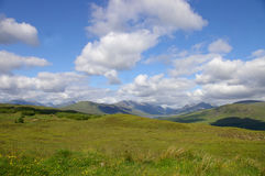 Scottish field with mountains. A scottish highland field with wild flowers looking out into a landscape of mountains royalty free stock image