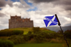 Scottish flag and castle Royalty Free Stock Images