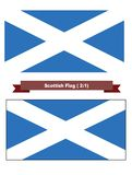 Scottish Flag. Isolated iwth and without a border Stock Photos