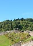 Scottish Flag Over Urquhart Castle Ruins in Scotland Stock Photos