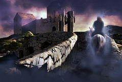 Scottish ghost. A scottish knights ghost returns to his castle in the highlands stock illustration