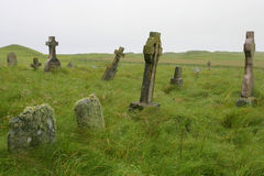 Scottish graveyard. Old Scottish graveyard in South Uist, off the west coast of Scotland stock photo