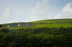 Scottish green landscape, farm in Orkney Island Stock Photos