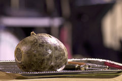 Scottish Haggis on Silver Tray Stock Images