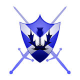 Scottish heraldry symbol. Thistle and Claymore swords with a St. Andrews cross sheild Stock Photography