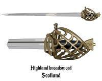 Scottish Highland backsword a hilt stone baskets. Isolated on white, vector illustration Stock Images