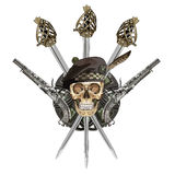 Scottish Highland backsword, two Scottish flintlock pistol and skull in the Scottish balmoral bonnet Stock Photo