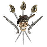 Scottish Highland backsword, two Scottish flintlock pistol and skull in the Scottish balmoral bonnet Royalty Free Stock Images