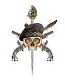 Scottish Highland backsword, two Scottish flintlock pistol and skull in the Scottish balmoral bonnet Royalty Free Stock Photos