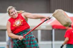 Scottish highland games. August 15, 2015 – Winnipeg, MB, Canada -  Manitoba association of Celtic sports organized Scottish heavy games during Folklorama Royalty Free Stock Photos