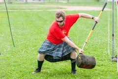 Scottish highland games. August 15, 2015 – Winnipeg, MB, Canada -  Manitoba association of Celtic sports organized Scottish heavy games during Folklorama Stock Photo