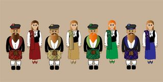 Scottish Highlanders Males And Females In Traditional Dress. Royalty Free Stock Photo