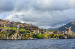 The ruins of famous Urquhart Castle in Scottish Highlands Royalty Free Stock Photography