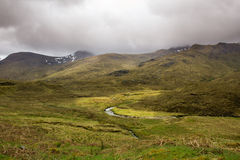 Scottish Highlands landscape. Cloudy skies over a rugged Highland wilderness, West Coast of scotland Royalty Free Stock Photos