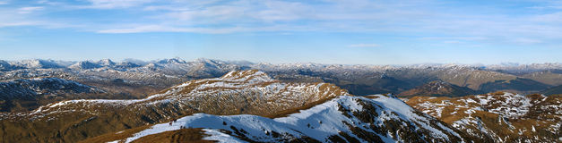 Scottish Highlands Mountain Panorama. A view west from Ben Ledi. Clear spring weather on Ben Ledi, Central Scotland Royalty Free Stock Photo
