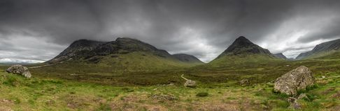 Scottish Highlands Scotland, United Kingdom. Cloudy Scottish Highlands Landscape Panorama , Scotland , United Kingdom stock photography
