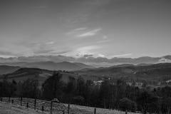 Scottish Hillside al tramonto B&W di Crieff Fotografie Stock