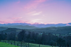 Scottish Hillside at Crieff Pink Sunset. stock photography