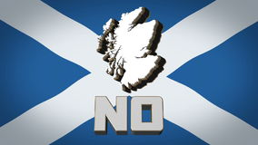 Scottish Independence Referendum Yes Vote September. A computer generated animation of a map of Scotland rotating against the Scottish Saltire flag with NO stock illustration