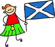Scottish kid. Little boy holding Scottish flag - toddler art royalty free illustration