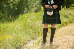 Scottish kilt costume stock photography