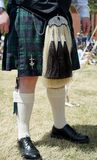 Scottish kilt and dress horsehail sporran. Traditional highland horsehair sporran serve as pockets over a kilt. In modern vernacular, they are sometimes called a Stock Photography