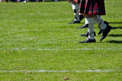 Scottish kilts. Detail of original Scottish kilts, during Highlands games stock photo