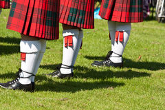 Scottish kilts. Detail of original Scottish kilts, during Highlands games stock images