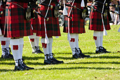 Scottish kilts. Detail of original Scottish kilts, during Highlands games stock photography