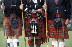 Scottish Kilts. Three gentlemen in their Scottish kilts stock photos