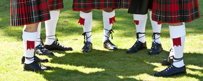 Scottish kilts. Detail of original Scottish kilts, during Highlands games stock image