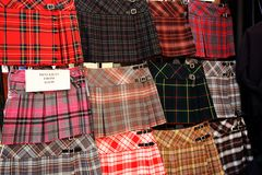 Scottish kilts on display outside the shop. In Edinburgh, Scotland royalty free stock photo