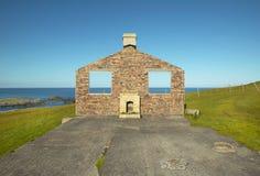 Scottish landscape with abandoned house in Shetland. Scotland Royalty Free Stock Photography