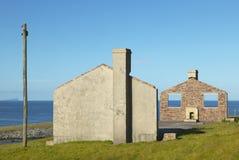 Scottish landscape with abandoned house in Shetland. Scotland Stock Photography