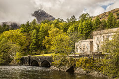 Scottish landscape with hydroelectric power station. Hydro electric power station on the shores of Loch Lomond, Scotland, UK Royalty Free Stock Photography
