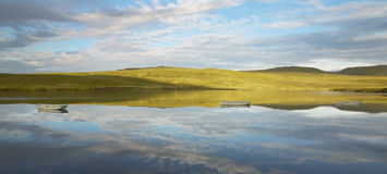 Scottish landscape with loch Leathan in Trotternish peninsula. S Stock Images