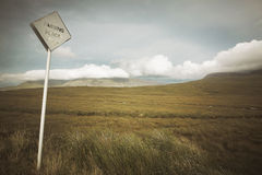 Scottish landscape with moorland and traffic signal. Highlands. Royalty Free Stock Images