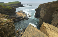 Scottish landscape in Orkney. Yesnaby cliffs. Scotland Royalty Free Stock Photo