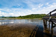 Scottish landscape with wooden footbridge Stock Image