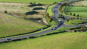 Scottish landscpae. With green field and road Stock Image