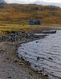 Scottish Loch and Mountains with Ruin Stock Photography