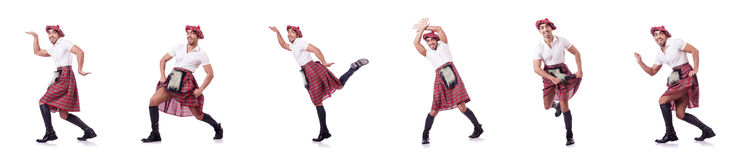The scottish man dancing on white Stock Photography