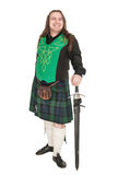 Scottish man in traditional national costume with sword Royalty Free Stock Photos