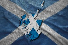 Scottish Map. Map of  in National flag colors Stock Photo