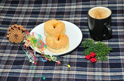 Scottish Mince Pie and a Cup of coffee Stock Photos