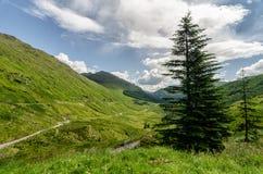 Scottish mountain highlands landscape. Scottish mountain and road highlands landscape stock images