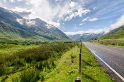 Scottish mountain highlands landscape. Scottish mountain highlands road landscape royalty free stock images