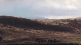 Scottish mountain scene of glen during stormy weather in the cairngorms NP during October, autumn. Scottish mountain scene of glen during stormy weather in the stock video footage