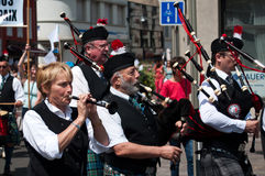 Scottish musicians during the demonstration for peace Royalty Free Stock Photography